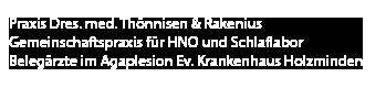Gemeinschaftspraxis Dr. Thönnissen & Dr. Rakenius und im Schlaflabor Holzminden